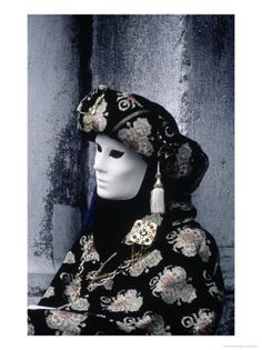 Costumed Participant at Carnival in Venice, Italy Photographic Print