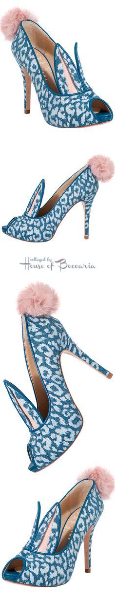 "~Minna Parikka ""Lolita"" Leopard & Denim Bunny Peep-Toe Pumps | House of Beccaria"