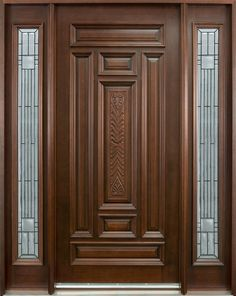 $3200   Classic Series Mahogany Solid Wood Front Entry Door - Single with 2 Sidelites - DB-095 2SL