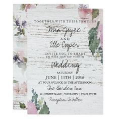 #Rustic Vintage Floral Wood Wedding Invitation - #country #wedding #celebration #beautiful
