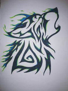 Green and Blue Wolf
