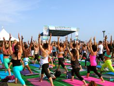 Outdoor yoga classes on the Santa Monica Pier