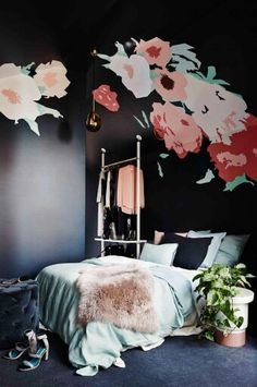 Floral contrasted with dark + bold