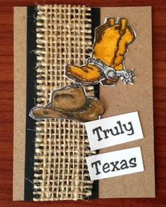 "ATC sample by DTM Karen Lambert using our Texana Designs Boot mini, Hat mini and ""Truly Texas"" stamps."