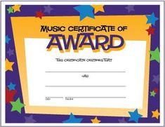 Free Music Award Certificate with Stars - http://makingmusicfun.net/htm/printit_award.htm