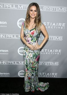 Fun with flowers: The O.C. star Rachel Bilson, 35, gave off pleasant vibes in a sleeveless, floral-pattern dress that flattered her svelte figure