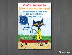 Pete the Cat Birthday Invitation