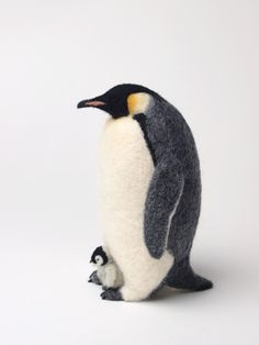 【羊毛フェルト】コウテイペンギンの親子 - 色鳥々