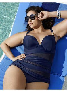 Sexy-Illusion swim tank with built-in plunge bra  #plussizeswimwear #fatkini #plusize