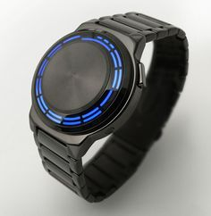 "A watch designed by a local british man James Fursedon and created by the Japanese company Tokyo Flash, the ""Kisai RPM"" looks like a very stylish take on a more ""nerdy"" watch. Also very Tron like."