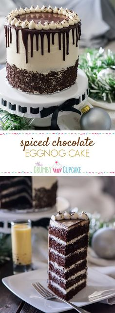 Spiced Chocolate Eggnog Cake The richest most non-traditional way to serve eggnog! This Spiced Chocolate Eggnog Cake is infused with the holiday drink and then covered in the creamiest eggnog buttercream youll ever eat. Christmas Desserts, Easy Desserts, Delicious Desserts, Christmas Cakes, Christmas Chocolate, Best Cake Recipes, Cupcake Recipes, Holiday Baking, Christmas Baking