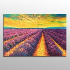Oil Painting Large, Provence Lavender Fields #extralargepainting #oilpainting #customoilpainting #largeart #abstractwallart #contemporaryart #originalpainting #largecanvasart #livingroomwallart #largepainting #abstractpainting #canvasart #modernpainting Small Canvas Paintings, Large Canvas Art, Large Painting, Oil Painting Abstract, Abstract Wall Art, Original Paintings, Painting Canvas, Oil Paintings, Impressionist Landscape