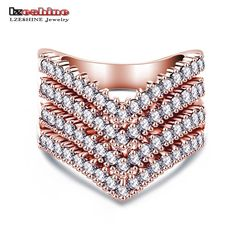 New Fashion Cubic Zirconia Rose Gold Color Ring for Women