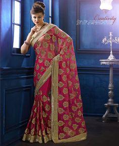 Buy Fine Pink Net Sarees online at  https://www.a1designerwear.com/fine-pink-net-sarees-4  Price: $105.82 USD