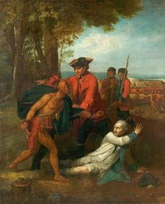 General Johnson Saving a Wounded French Officer from a North American Indian by Benjamin West  Date painted: c.1768 Oil on canvas, 129.5 x 106.5 cm Collection: Derby Museums and Art Gallery