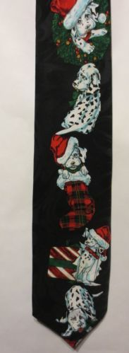 mens neckties Christmas nexktie, Dalmatian Dogs with Christmas Presents