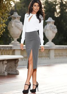 ENTIRE outfit UNDER $100: Slit front blouse, high slit slim skirt, Mary Jane Pump