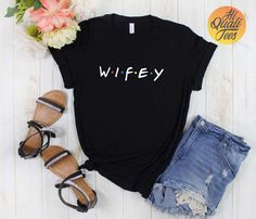 Wifey & Hubby matching married couple t shirts for Husband and Wife / funny wedding announcement or honeymoon tshirts / Friends Tv Show gift  Awesome Friends Hubby & Wifey shirt for freshly married couples as honeymoon shirts or as a funny anniversary gift. Check out my etsy store for more friends tvshow shirts.