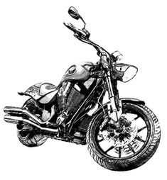 Victory Hammer Motorcycle Drawing. CUSTOM Drawings from Your Photos, Harley Davidson. Drawings of people, pet, cars, homes. $19.00, via Etsy.