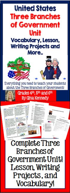 """United States, """"Three Branches of Government"""" Writing and Research Enrichment Projects I have also included a lesson and vocabulary handout. From writing a specific letter to their senator to writing about a Supreme Court decision, the writing activities are fun, creative and provide an authentic way for your students to show their understanding of this important government concept.$"""