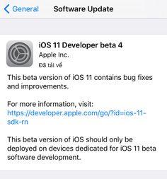 Mới đây, Apple đã chính thức tung ra bản beta thứ 4 của iOS 11 dành cho lập trình viên, 2 tuần sau bản beta 3 trước đó và hơn 1 tháng sau bả...