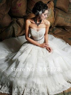 Tiered organza ball gown lace sweetheart strapless sashes Wedding Dresses US $137.74