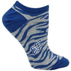 Kentucky Wildcats Ladies Zebra Print No Show Socks – Royal Blue/Gray