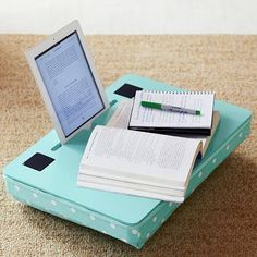 Speaker Lapdesk for iPad - great for working in bed. #ipad-stand-for-bed
