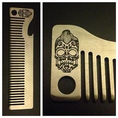 """""""Greaser Skull"""" Custom Comb from Old Familiar Comb Company - You can order a comb with this or any other image on it here: http://oldfamiliarcombcompany.com/custom-combs/"""