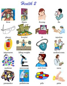 Another vocabulary list of health terms with pictoral support. Good for newcomers and low English proficiency ELLs. English For Beginners, English Tips, English Class, English Lessons, English Words, English Grammar, Learn English, Vocabulary List, Grammar And Vocabulary