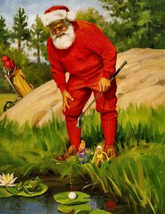 Santa's Time Off by Tom Browning Christmas Images, Christmas Art, Christmas And New Year, Vintage Christmas, Christmas Posters, Tropical Christmas, Christmas Things, Christmas Ideas, Mrs Claus