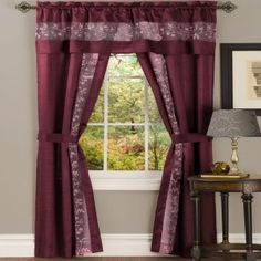 """Burgundy. Five Piece """"Window in a Bag"""" Set.  Transform your window treatments with these high quality but cheap and affordable curtains.  Set includes: 2 Curtain Panels 2 Tiebacks 1 Attached Valence  Engineered stripe faux silk embroidery complete set.  Elegant, simple, and convenient, bringing out the beauty in your home.  Machine washable and dry to make cleaning easy.  Requires just one standard or decorative rod."""