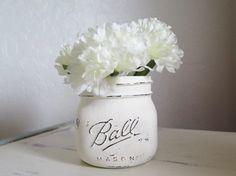 Distressed Mason Jars, Wide Mouth Mason Jars, White Mason Jars, Makeup Brush Holder, Rustic Bathroom Decor, Country Kitchen, Mason Jar Decor