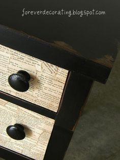Book page decoupaged dresser!