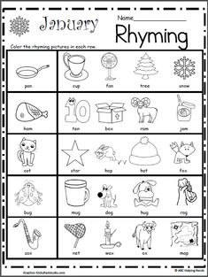 Rhyming Worksheet for January - Made By Teachers