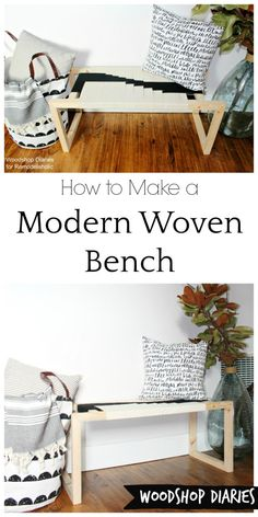 DIY Modern Woven Bench 2019 How to make your own DIY modern woven bench from just a few 22 boards and some twine! Get that modern boho look for cheap with this easy DIY tutorial! The post DIY Modern Woven Bench 2019 appeared first on Furniture ideas. White Furniture, Sofa Furniture, Cheap Furniture, Shabby Chic Furniture, Furniture Plans, Rustic Furniture, Furniture Making, Furniture Design, Furniture Online