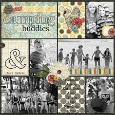 Digital Scrapbook Page Layout by Juli using Mary Margaret and matching Journal Cards from Etc by Danyale at The Lilypad #etcbydanyale #digitalscrapbooking #memorykeeping Pocket scrapbook, camping, friends, black and white photos, flowers, project life