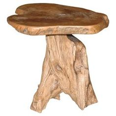 "Handcrafted from pieces of driftwood, this nature-inspired end table is an eye-catching addition to your bedside or living room.   Product: End tableConstruction Material: Natural driftwoodColor: HoneyFeatures: HandcraftedNature-inspiredDimensions: 21"" H x 21"" W x 21"" DNote: Due to the nature of this product, each piece will vary slightly"