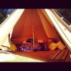 Bell tent interior. Glamping