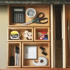 Bamboo Drawer Organizer Boxes for inside night stand to hold glasses, a pad of paper and pen, chapstick