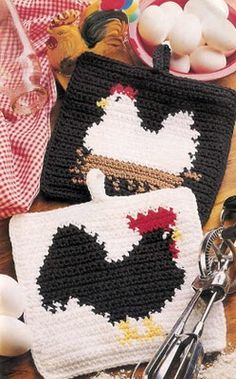 Rooster and Hen Potholder pattern - click on instruction page to enlarge and you can read it from there!
