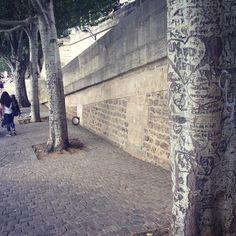 さて気を取り直してパリプラージュへ と思ったらポンデザールの近くの街路樹にも愛の落書きがたくさんされてたかわいそう 愛とはかくもエゴイスティックなものなのですね #paris #laseine #larbre by aizavesu