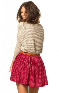 slouchy sweater + polka dot skirt
