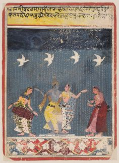 This eptimozes the raag (music) that can induce the Monsoon Rains. Krishna and Radha dance united in the joy that the rain brings. Megh Malhar Raga ca. 1670 Malwa, Central India.
