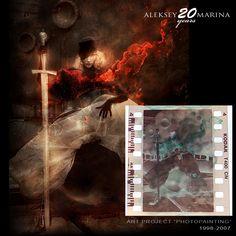 """Burning heart"", 2001. By Aleksey&Marina. Painting on negative film."