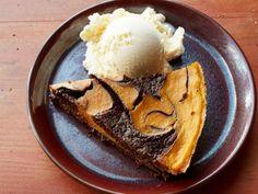 Pumpkin-Brownie Swirl Pie with semi-sweet chocolate chips, cocoa powder, heavy cream, pumpkin puree.