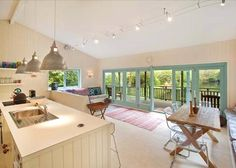 Open plan kitchen extension - yes please! Kitchen Diner Extension, Open Plan Kitchen Diner, Kitchen Layout, Kitchen Dining Living, Kitchen Family Rooms, Style At Home, Home Kitchens, Ideal Home, Building A House