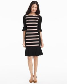 "This striped sheath dress is a workweek must-have. Fitted silhouette, bell sleeves and ruffled hem will take you from Monday meetings to casual Fridays. Complete the look with black or pink heels.  Flippy hem black with ballerina striped sheath dress Three-quarter bell sleeves; ruffled hem Exposed goldtone back zip with hook-and-eye closure Lined Approx. 38"" from shoulder; hits at knee Rayon/spandex. Machine wash cold Imported"