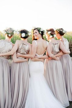 Crushing all over these glittery bridesmaids dresses! Photo by Vanilla Photography