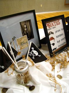 get your pirate gear at the door... also lots of fun ideas to do during the party